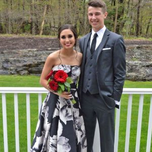 prom couple smiling