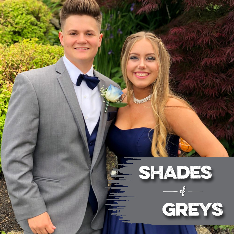 school boy in grey tux