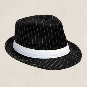 HFEDBW - Black fedora with white pinstripe and satin sash. One size fits all