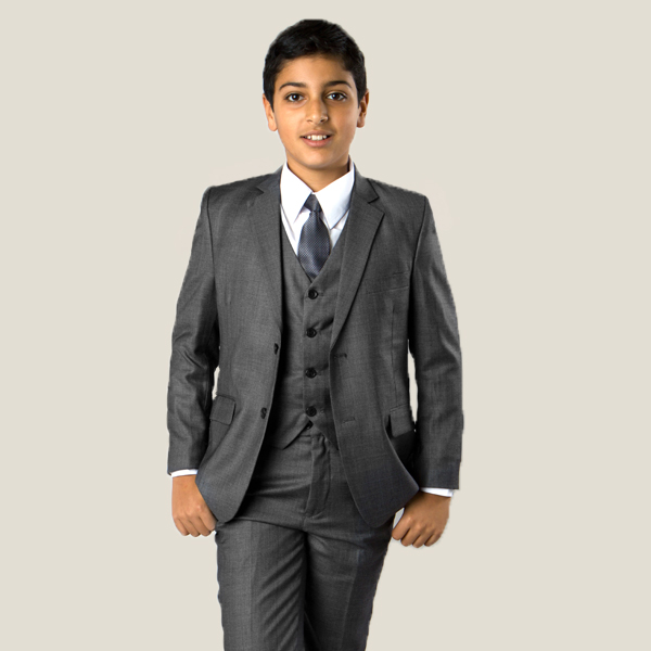 CHGRY Grey Suit. 3 button, notch lapel, elastic waist, polyester and washable. Includes coat, pant, shirt, vest and tie.