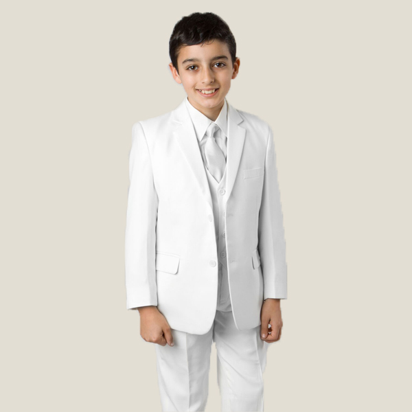 CHWHT White Suit. 3 button, notch lapel, elastic waist, polyester and washable. Includes coat, pant, shirt, vest and tie.