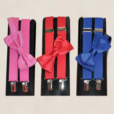 S252FUSHM (Fuchsia Suspenders), BOWFUSM (Fuchsia Bow Tie), S252REDM (Red Suspenders), TB150 (Red Bow Tie), S252RYLM (Royal Blue Suspenders), BOWRYLM (Royal Blue Bow Tie)