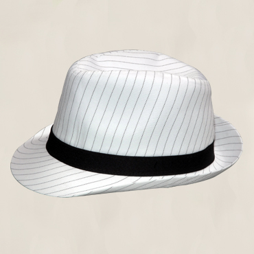 HFEDWB - White fedora with black pinstripe and satin sash. One size fits all
