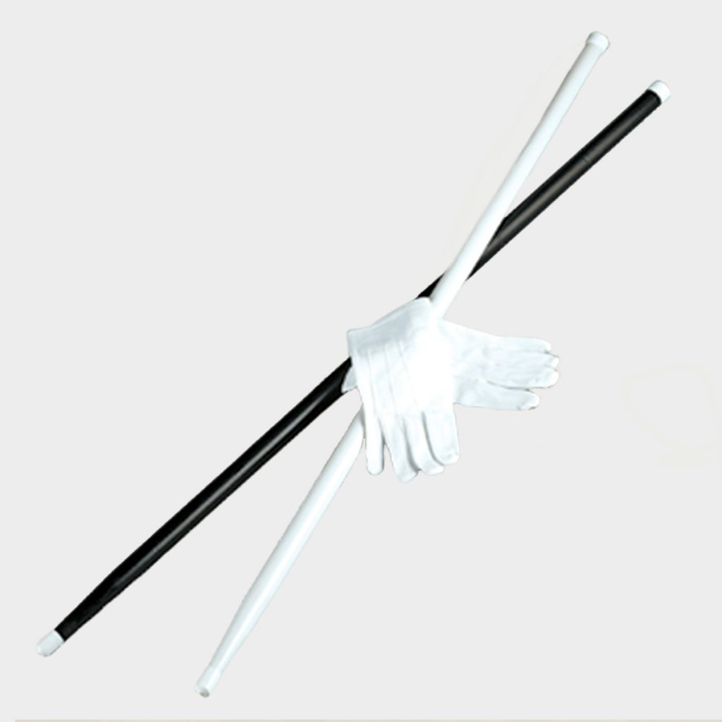 "CANEBLK(Black), CANEWHT(White), Both: 36"" Wooden Cane, GWHT(White Gloves), Snap Nylon"