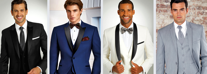 Different tuxedo options black, ivory, cobalt, grey