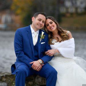 wedding couple cobalt blue tuxedo